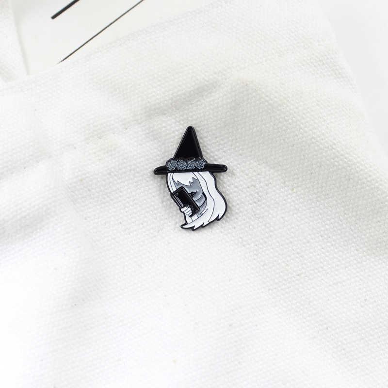 白髪魔女手トーク電話スタイリング人格のブローチダークシリーズファッションジュエリーハロウィンのデニム服の宝石類のギフト