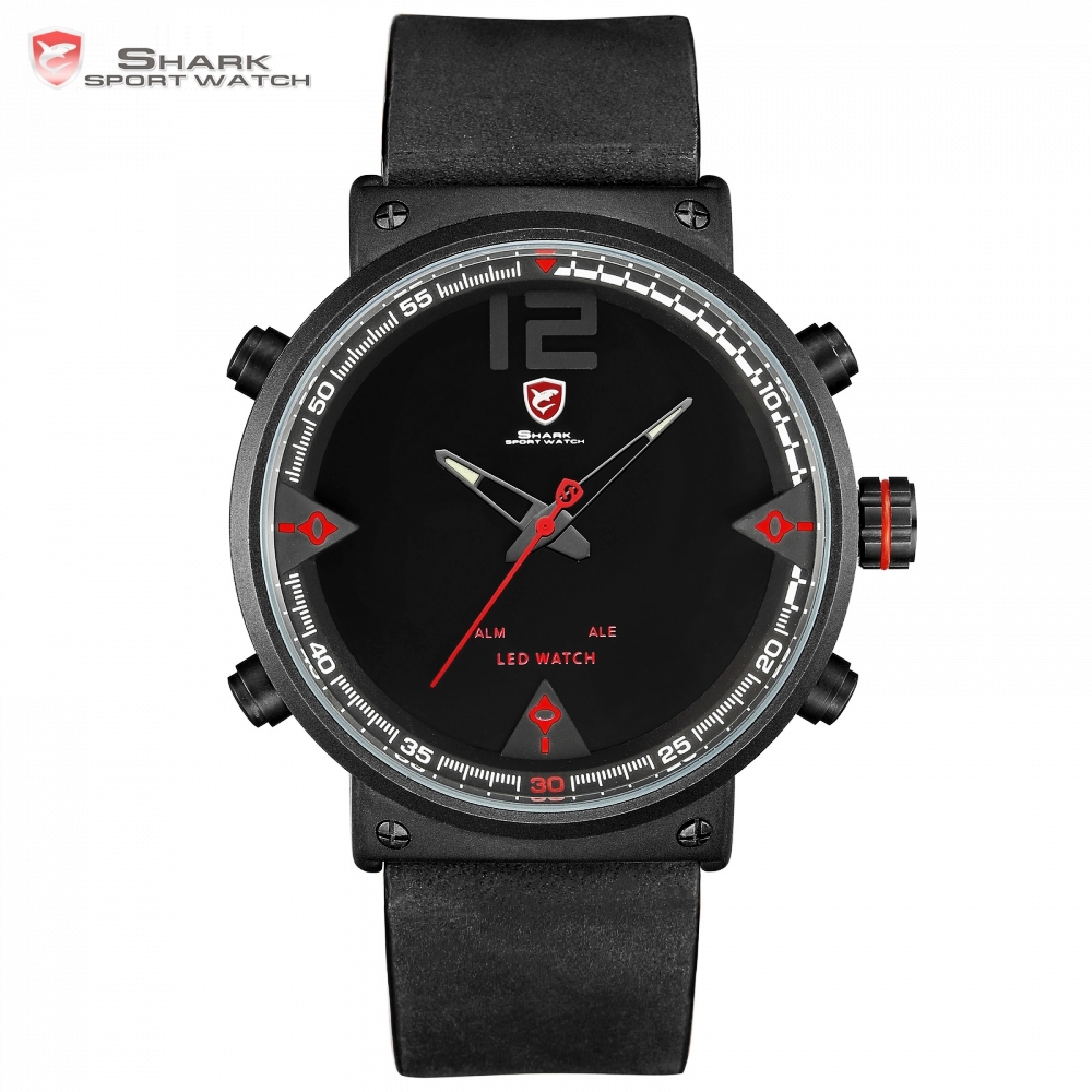 Bluegray Carpet Shark Men Sport Watch Top Brand Military Black Watches LED Digital Analog Quartz Wristwatch Relogio Clock /SH548|clock brand|watch led|watch led digital - title=