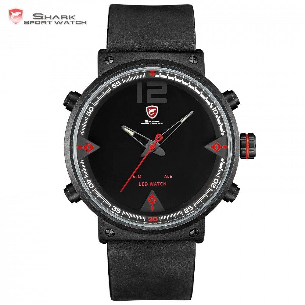 Bluegray tapis requin hommes Sport montre Top marque militaire noir montres LED numérique analogique Quartz montre bracelet Relogio horloge/SH548-in Montres sport from Montres    1