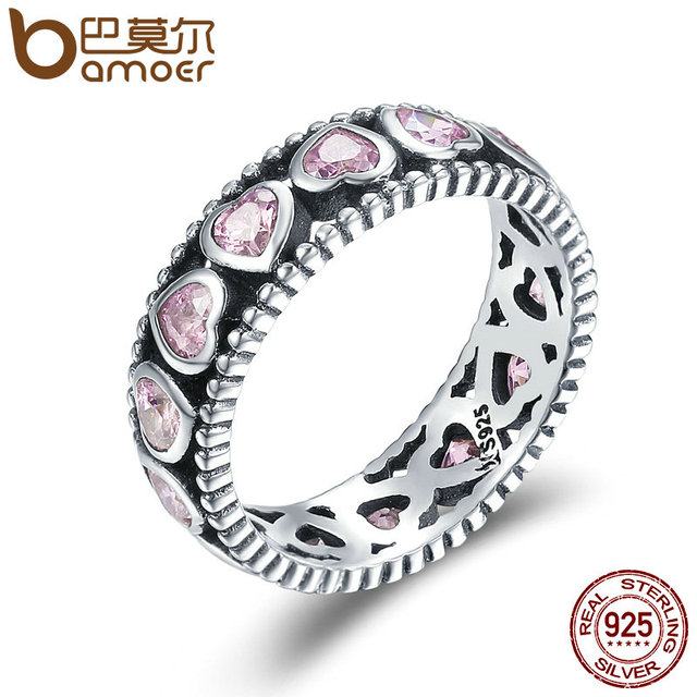 BAMOER Authentic 925 Sterling Silver Stackable Ring Radiant Heart Pink Crystal C