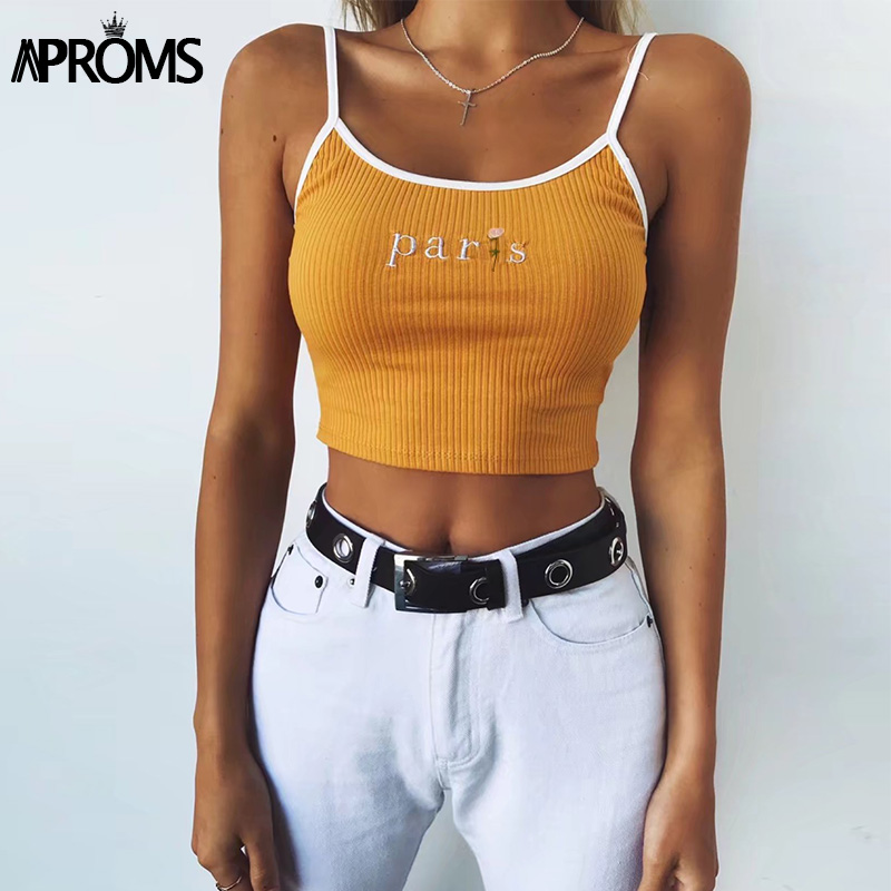 Aproms White Paris Floral Embroidery Camis Women Fashion 2019 Cool Girls Basic   Tank     Tops   Sexy Ribbed Tees Cropped Bustier   Tops