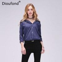 Dioufond Summer V Neck Cotton Linen Women Shirts Three Quarter Female Camisas Femininas Office Women Tops