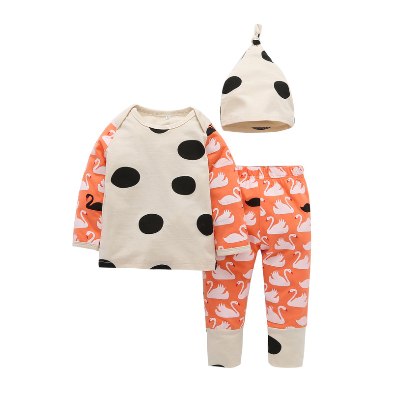 2018 Baby boys childrens casual 3-piece suit long-sleeved T-Shirt +Cartoon swan trousers +Hat Infant Toddle girls clothes set