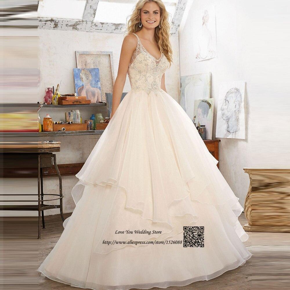 Light Champagne Modest Vintage Wedding Gowns Organza