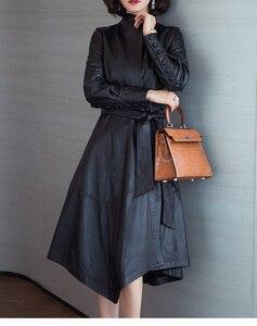 Image 4 - Ayunsu سترة جلد طبيعي 2020 معاطف جلد الغنم الحقيقي للنساء معطف طويل خندق الإناث ربيع الخريف جاكيتات 22291 WYQ1188