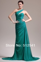 Elegant One shoulder Chiffon Prom Dresses 2014 Best Selling Sheath Column Sweep Train Ruffle yk-8A28