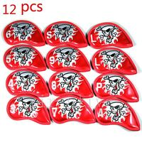 Free Shipping 12pcs Set Golf Iron Headcover Iron Club Covers Set Skull Head Cover 4 Colors