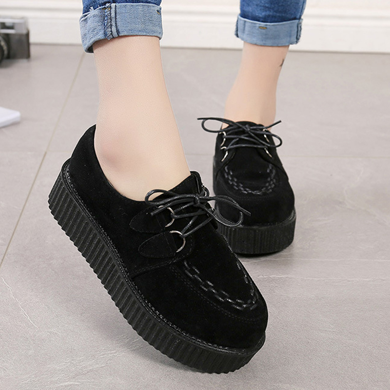 Female Footwear Creepers Shoes Women Flats Suede Black Plus-Size Casual Fashion Lace-Up