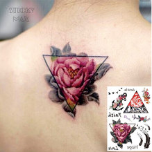 W01 1 Piece Triangle Rose On The Back Waterproof Tattoo With Bird Feather, Anchor Pattern