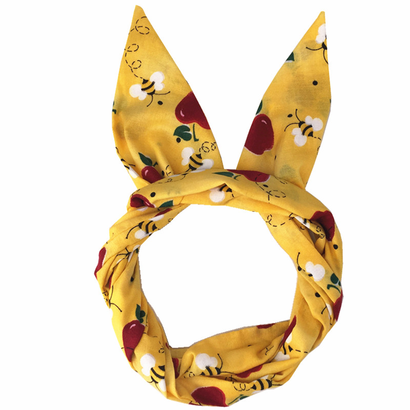 yellow bee and red apple print rockabilly turban pinup bow headband bandans hair scarf wrap hair accessories bandeau cheveux