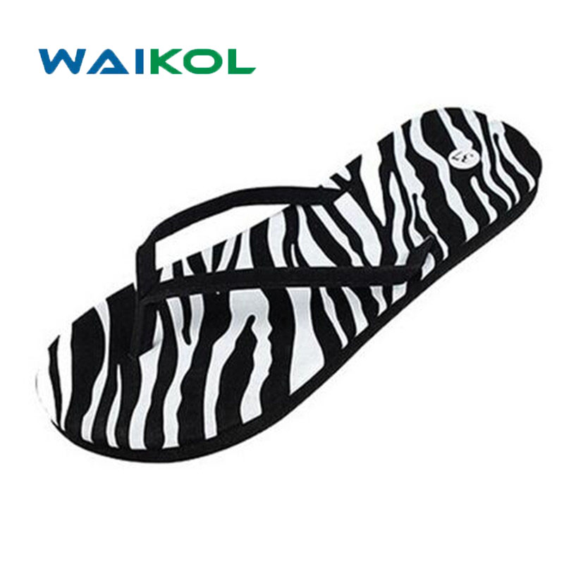 Waikol Women's Sandals Summer Beach Flip Flops Lady Slippers Female Leopard Shoes Summer Sandals for Women Flat Heel Casual slippers female summer 2016 new version for casual shoes women flat sandals sweet flowers beach shoes free shipping