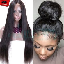 Brazilian virgin human hair silky straight full lace wigs pre plucked lace frontal straight wig virgin lace front straight wig