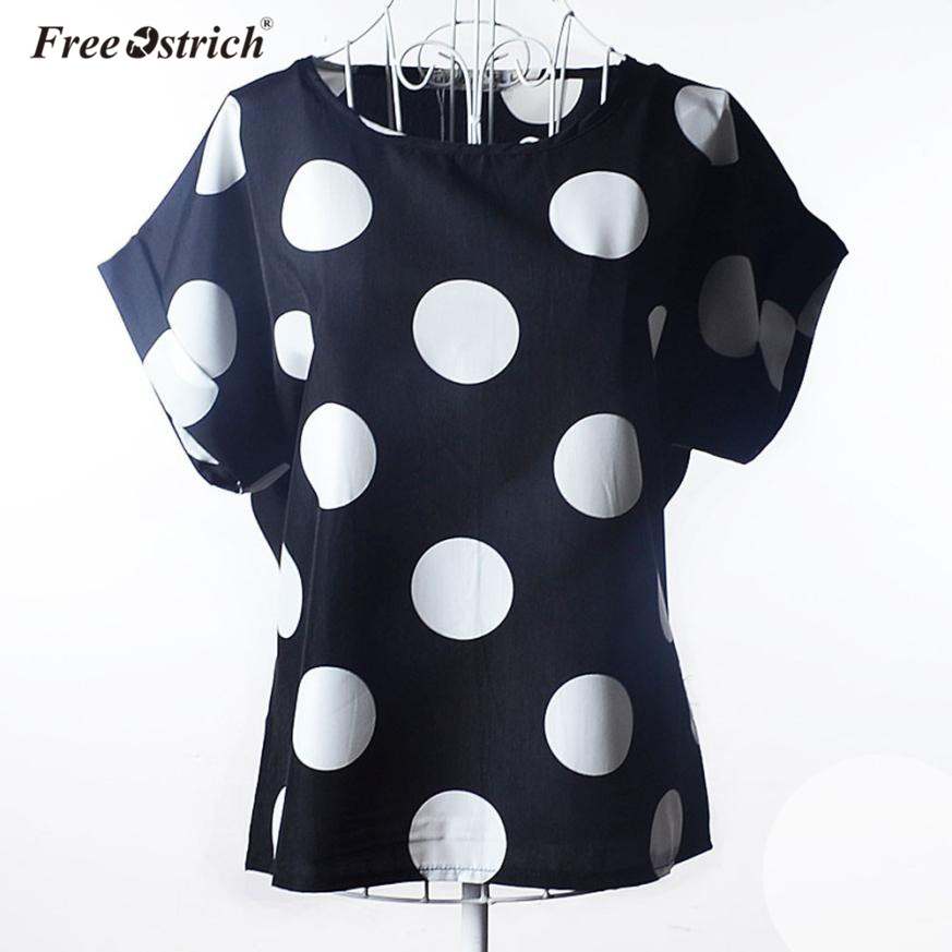 Free Ostrich T-shirt Women Casual Short Sleeve Dot Print Tropical Chiffon Shirt 2019 Women Clothes A1930