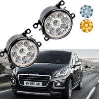 Car Styling For Peugeot 3008 2009 2015 9 Pieces Leds Chips LED Fog Light Lamp H11 H8 12V 55W Halogen Fog Lights