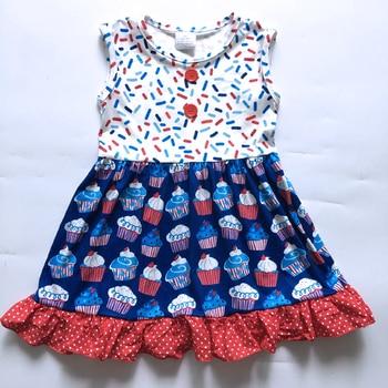 2019 Новая летняя одежда для маленьких девочек платье трапециевидной формы с рисунком торта и горизонтальной полосой для девочек >> Yiwu Qiaolei Clothing Factory
