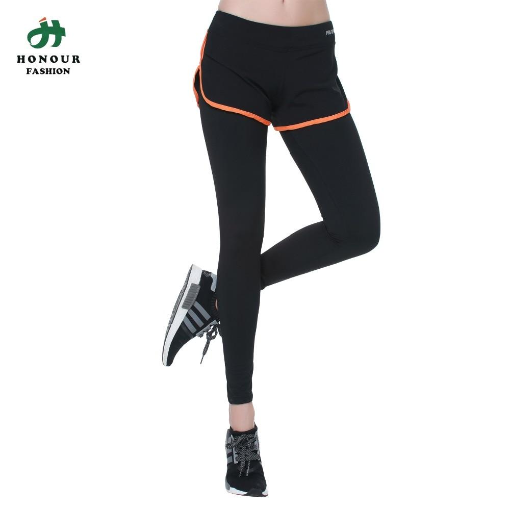 Mujeres Encuadre de cuerpo entero 2 en 1 Deportes Pantalones de Yoga ...