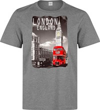 London England Big Ben And Red Bus men (woman available) grey t shirt Cool Casual pride t shirt men Unisex New Fashion(China)