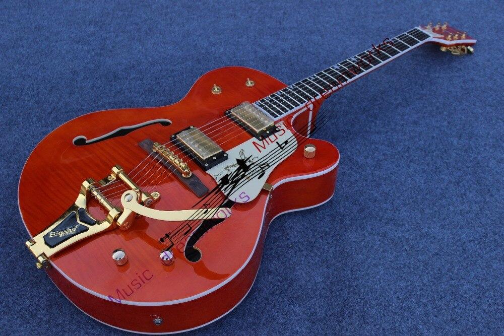 China OEM firehawk Hollow Jazz Electric Guitar Hardware Gold, sistem i madh xhaz tremolo, transporti falas