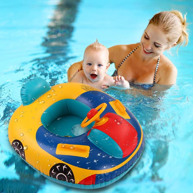 Summer Baby Swimming Ring Baby Float Seat Boat With Sunshade Toddler Inflatable Wheels Swimtrainer Circles Swimming Pool