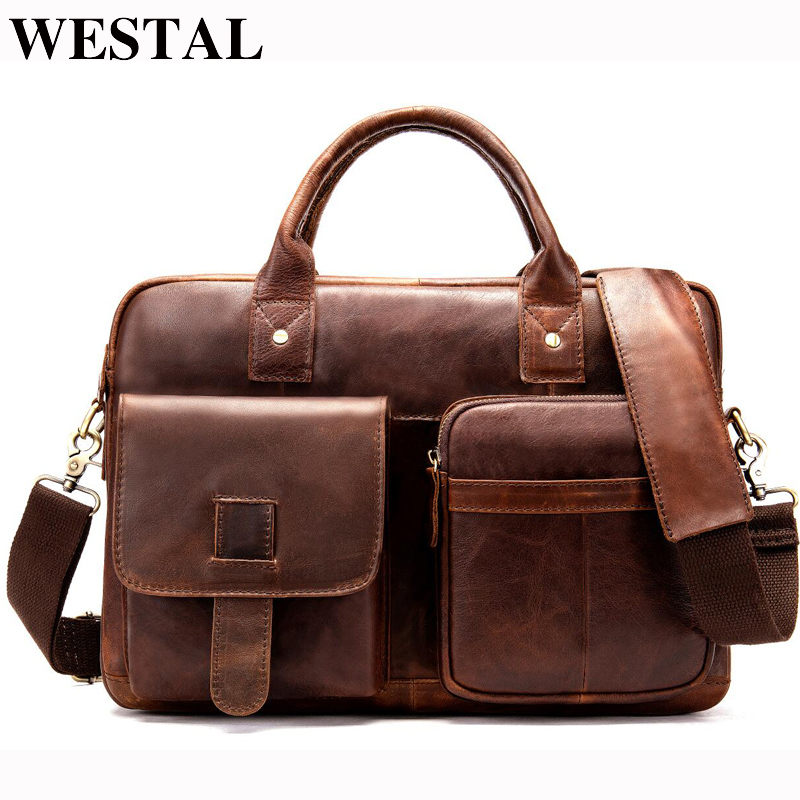 WESTAL Men s Briefcase bag men s Genuine Leather bags male 14inch business Laptop bag for