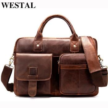 WESTAL Business Men Briefcase Bag Genuine Leather Laptop Bags Lawyer Man Bag for Documents Shoulder Bags Male Briefcase Handbags Сумка