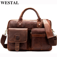 WESTAL Men Briefcase Messenger Bag for Document Men's Genuine Leather Laptop Bag 14 Business Briefcase Leather Computer Bags 850