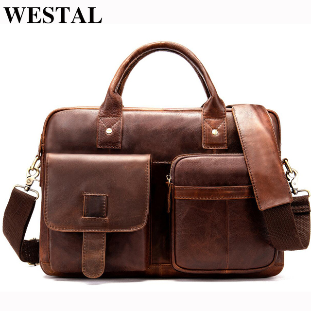 Мужской портфель WESTAL, мужская сумка из натуральной кожи, мужские сумки, 14 дюймов, деловые сумки для ноутбука, Мужские портфели, кожаные сумки 8503