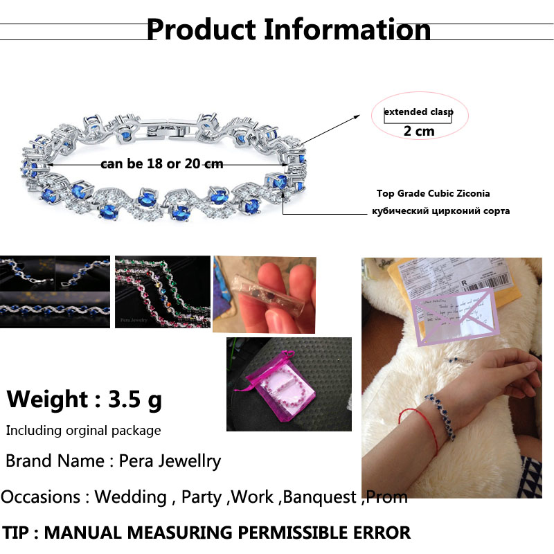 Pera 5 Color Options Fashion Ladies Sterling Silver Cubic Zirconia Royal Blue Stone Bracelets Jewelry For Christmas Gift B017 8