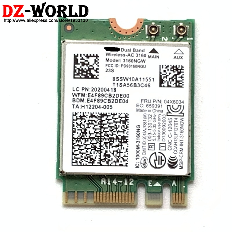 Dual Band Wireless-AC 3160NGW Wifi+BT 4.0 NGFF Card 2.4GHz/5GHz For Lenovo B50-70 G50-30 G40-30 Y70-70T Y50-70 04X6034