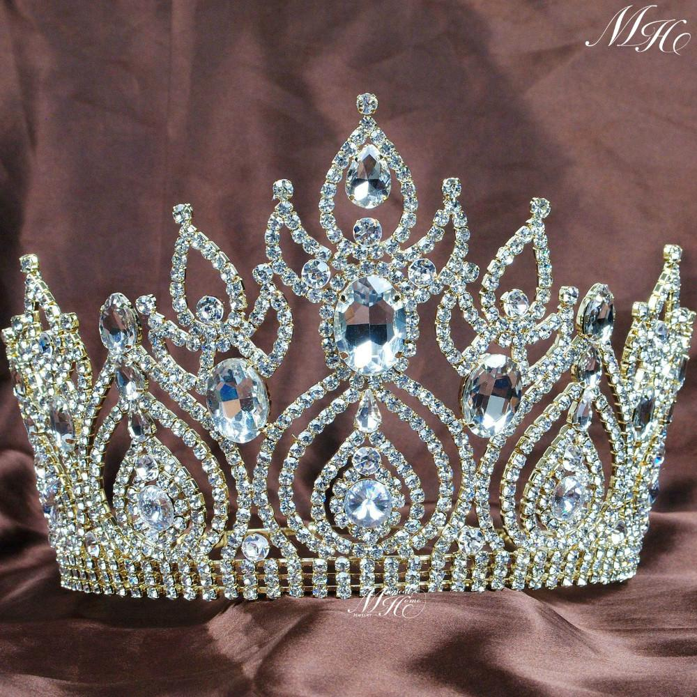 Gorgeous Large Tiaras Wedding Bridal Crowns Gold Clear Rhinestones Crystal Brides Headband Pageant Party Hair Accesories