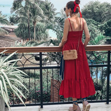 2019 Summer Red Camisole Dress Pleated Hem Sexy Deep V Neck Vacation Long Dress Single Breasted Spliced Smocks Women CUERLY curved hem single breasted cami dress