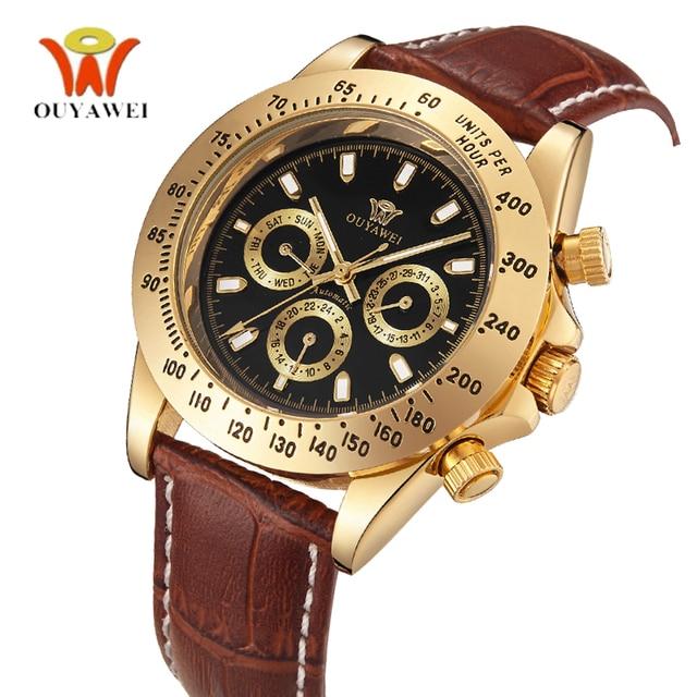 6fc3d799aba Ouro Semana Analógico Militar Couro Genuíno 3 Relógio Mecânico Automático  Data Masculinos relógios de Pulso Relógio