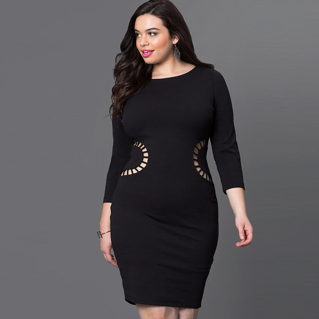 05d2923eaae Top Sale Autumn Dresses for Women Plus Size Round Neck Hollow Out Bodycon Dress  Fat MM Sexy Party 3xl Women Clothing Vestidos