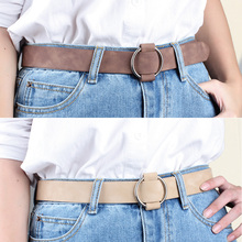 Fashion design belts black PU leather no needle buckle belt silver circle buckles decoration jean students simple casual trouser