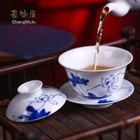 Changwuju Цзиндэчжэнь Чашки и блюдца кунг фу чайный сервиз ручной работы миска с крышкой Большие размеры синий и белый фарфор китайский чайная ч