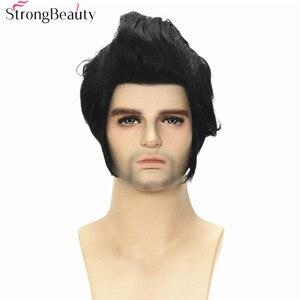 Image 2 - חזק יופי סינטטי קצר קוספליי פאות שחור גוף גל גברים של פאה