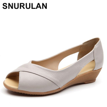 SNURULAN Summer Women Shoes Woman Fashion Genuine Leather Open Toe Sand