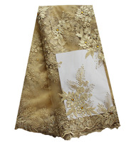 Champagne Gold Tulle Net Lace Fabric With Big Stones Flower French Lace Fabric High Quality African