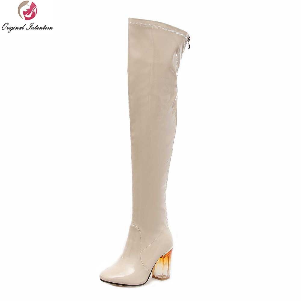 Original Intention Sexy Women Over the Knee Boots Nice Square Toe Square Heels Boots Black Beige Shoes Woman US Size 4-10.5 цена
