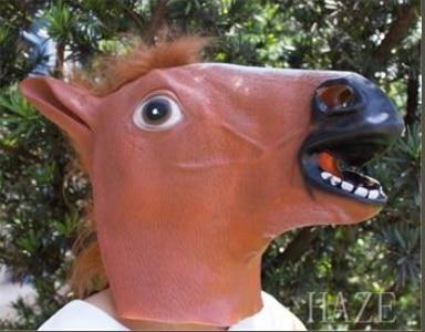 Horse Head Mask Creepy Halloween Costume Fur Mane Latex Realistic Gag