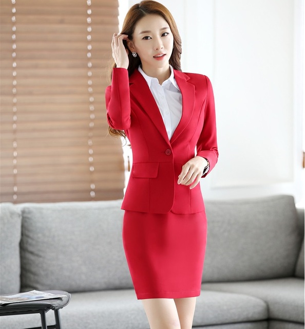 Formal Elegant Red Fashion Slim Spring Autumn Professional Business Suits With Jackets And Skirt Office Ladies Blazers Outfits