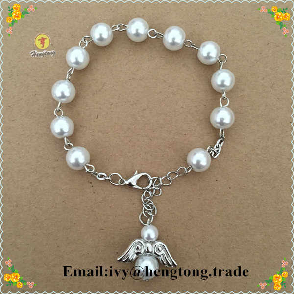freeship white 8mm glass imitation pearl rosary bracelet,religious bracelet, faux pearl religious bangle with angel wing pendant