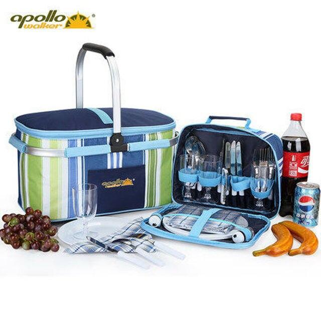 Apollo посуда набор корзинку для пикника изоляции набор для барбекю мешок пакет со льдом четырех человек обед мешок мешок вина мешок ручки