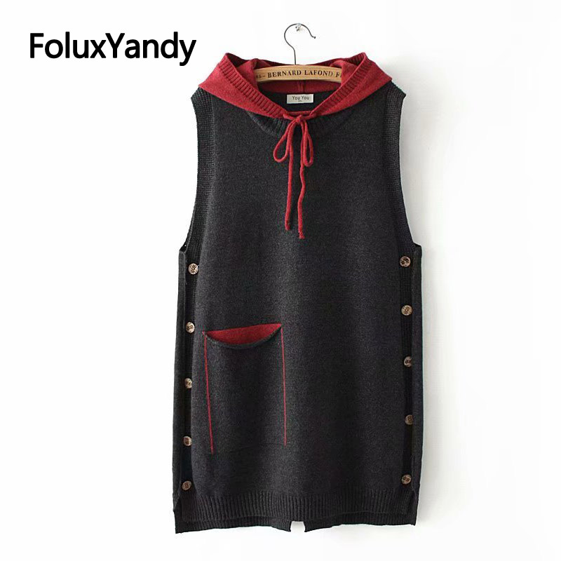 Casual Hooded Knitted Vests Women Spring Autumn Outerwear Pockets Loose Plus Size Sleeveless Vest KKFY3195 in Vests amp Waistcoats from Women 39 s Clothing