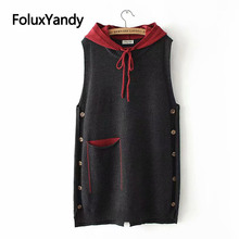 Casual Hooded Knitted Vests Women Spring Autumn Outerwear Pockets Loose Plus Size Sleeveless Vest KKFY3195 black side pockets sleeveless outerwear