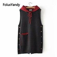 Casual Hooded ถักเสื้อผู้หญิงฤดูใบไม้ผลิฤดูใบไม้ร่วง Outerwear กระเป๋าหลวม Plus Size Vest KKFY3195