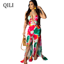 QILI Sexy Backless Lace Up Women Jumpsuits Colorful Print Sleeveless Wide Leg High Split Fashion Romper Loose S-XXL