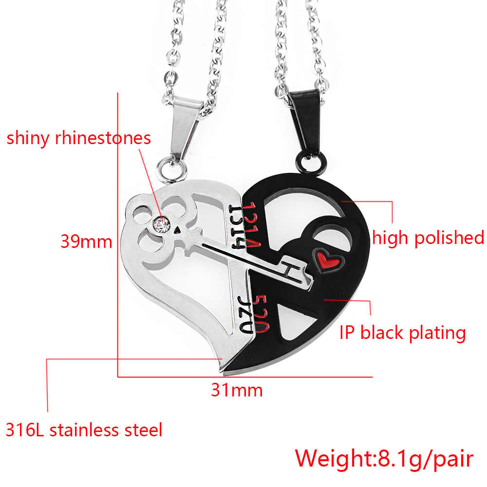 2017Fashion Heart Key Crystal Pendant Necklace Couple Love Forever Wedding Stainless Steel Friends/Girlfriends Jewelry Wholesale