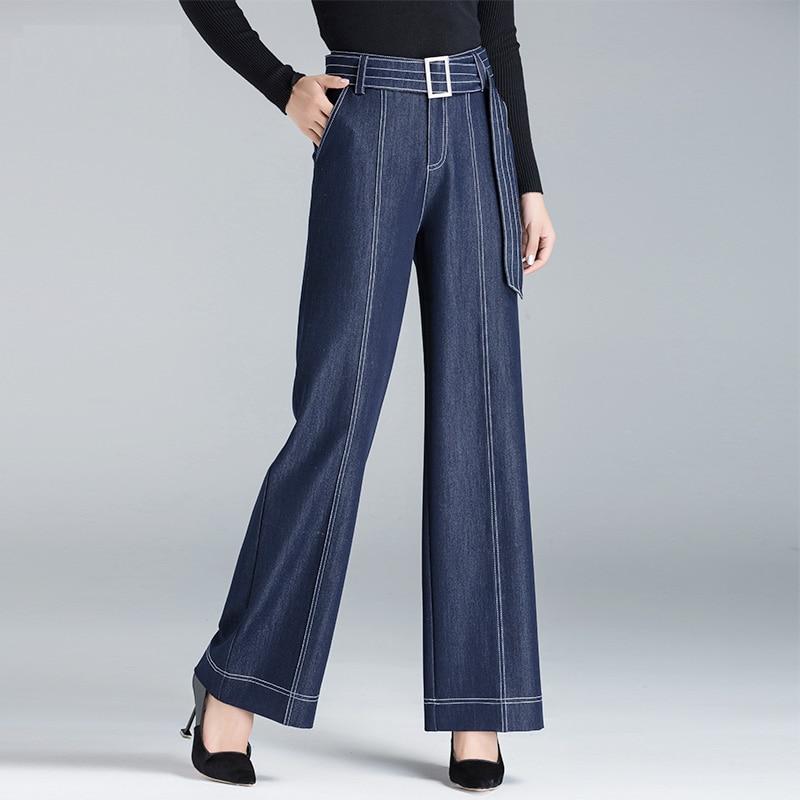 Pantalon Femme 3xl Haute Denim Printemps Rayé Pantalon Automne Lâche Jambe Taille Mode Jeans Casual Sash Bleu Blue Large Femmes nIOTxIw