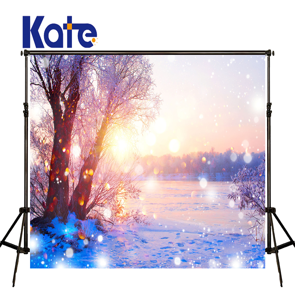 KATE Photography Backdrops 5x7ft Christmas Backdrop Winter Scenery Photography Backdrops Snow Forest Background for Photo Studio kate photography backdrop winter snow tree castle scenery photography background lighting spot dream backdrops studio